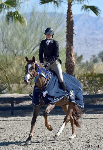 Tonya Johnston and Mary Kate Moulton's Back in Business win the Desert Circuit III $5,000 Platinum Performance Hunter Prix on Sunday, February 1, 2015, at HITS Thermal.(c) ESI Photography
