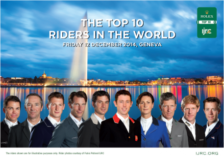 The 10 riders who qualified for the 2014 Rolex IJRC Top 10 Final title in Geneva, Switzerland, from left to right: Kent Farrington (USA), Patrice Delaveau (FRA), Daniel Deusseur (GER), Kevin Staut (FRA), Steve Guerdat (SUI), Scott Brash (GBR), Penelope Leprovost (FRA), Ludger Beerbaum (GER), Marcus Ehning (GER), Mikael van der Vluten (NED). Photo by Fabio Petroni/URC