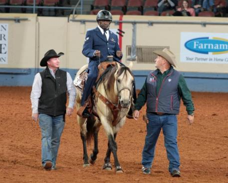 Derrick Perkins Wins the 2014 AQHA World Championship Show Para-Reining Demonstration. (Photo: courtesy of Larri Jo Starkey)
