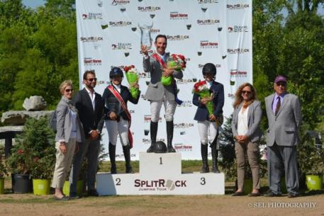 USEF President Chrystine Tauber, Split Rock Jumping Tour Founder & President Derek Braun, Reserve Champion Margie Engle, Grand Prix Champion Kevin Babington, third-place finisher Kaitlin Campbell, Bobbie Braun and Jose Gamarra, Member of the Ground Jury  (Photo: SEL Photography)
