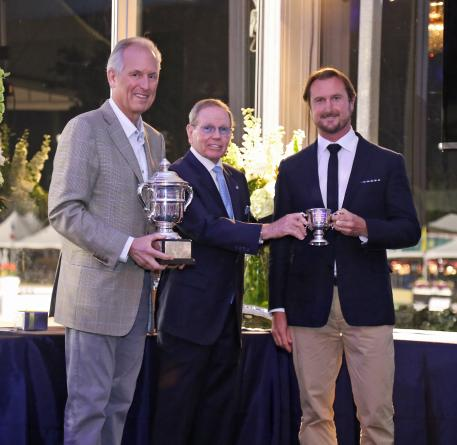 USET Foundation Vice President, Jim McNerney and Chairman, Brownlee O. Currey, presented Chester Weber with the 2015 Whitney Stone Cup Photo Credit: Emily Riden