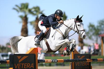 Will Simpson and Katie Riddle, owned by Monarch International, won Friday's $25,000 SmartPak Wild Card Grand Prix at HITS Thermal. (c) ESI Photography
