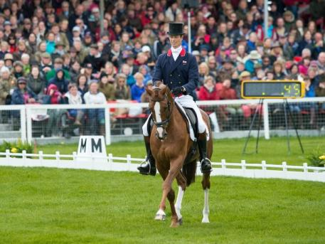 William Fox-Pitt (GBR) and Chilli Morning is currently in second place to Andrew Nicholson (NZL) and Nereo after the Dressage phase at the Mitsubishi Motors Badminton Horse Trials, fourth leg of the FEI Classics™ 2014/2015. (Jon Stroud/FEI)