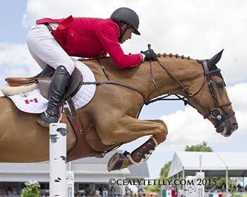 Yann Candele of Caledon, ON, was the Canadian Show Jumping Team pathfinder riding Showgirl, owned by the Watermark Group. (Photo: © Cealy Tetley)