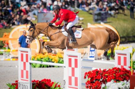 Yann Candele of Caledon, ON, and Showgirl, owned by The Watermark Group, were the lead-off riders for Canada in the $200,000 Furusiyya Nations' Cup at CSIO4* Ocala, Florida. Photo Credit - Shannon Brinkman Photography