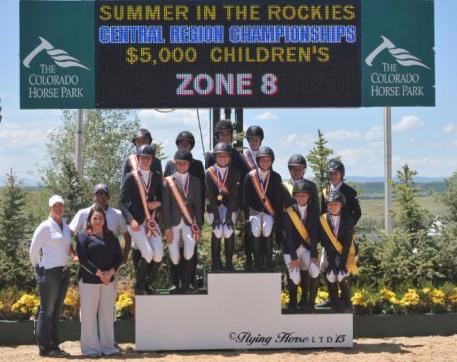 Zone 8 Captures the Children's Team Gold at the 2015 USHJA Children's and Adult Amateur Jumper Central Regional Championships. (Photo: Flying Horse LTD)