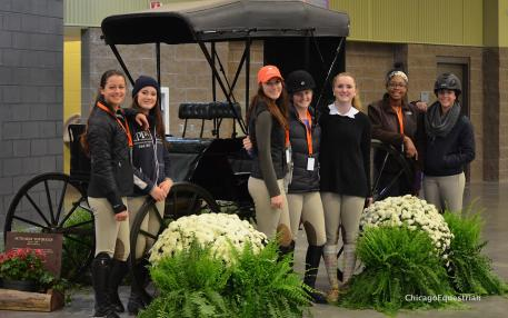 Zone 5 riders Haley Zimmerman, Sarah Grant, Jordan Marmul, Caitlin Boyle, Piper Benjamin, Jordan Allen and Gia Gulino. Photo by Chicago Equestrian.