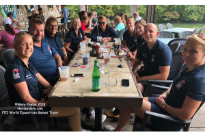 British Para Dressage Team enjoying lunch at Lake Lure