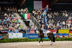 Team Germany in the performance of a lifetime, taking the gold medal and world championship title in the first ever Nations Team Vaulting competition at the FEI World Equestrian Games™ Tryon 2018. (Photo: FEI/Christophe Taniere)