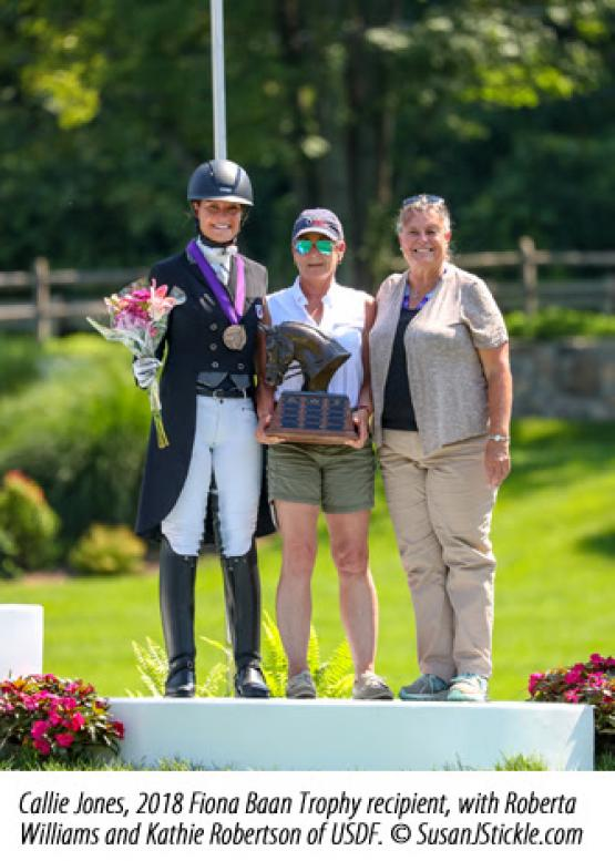 "Callie Jones Awarded Fiona Baan ""Pursuit of Excellence"" Memorial Trophy"