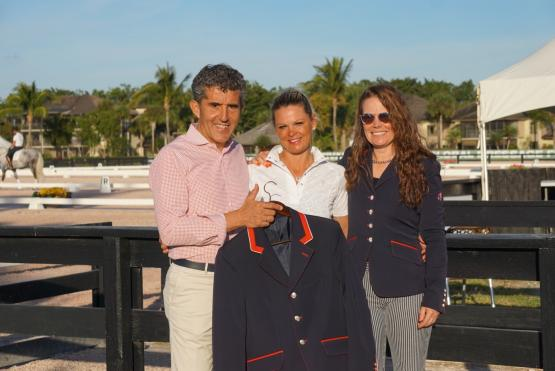 Dr. Cesar Parra, Louisa-Marcelle Eadie, and Katie Riley enjoying their new partnership and showing off their stylish new Flying Changes Jackets.