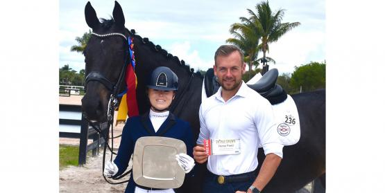 Bebe Davis and Fiderhit with trainer,Endel Ots  winners of the Triple Crown Excellence Award at the AGDF Week 7