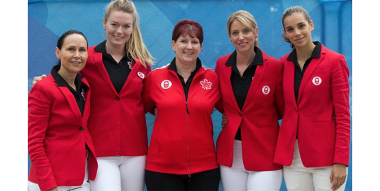 The Canadian Dressage Team for the Lima 2019 Pan Am Games. Left to right: Jill Irving, Lindsay Kellock, Christine Peters (Chef d'Équipe), Tina Irwin, Naima Moreira Laliberté. Photo Credit: © Cealy Tetley - www.tetleyphoto.com
