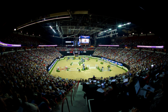 FEI's new partnership with IMG will enhance equestrian sport viewing experience for broadcasters and viewers around the world for major events, including the Longines FEI World Cup™ Jumping Final pictured here, which took place in Las Vegas (USA) on 15-19 April at the Thomas & Mack Center. (Photo: Arnd Bronkhorst/FEI)
