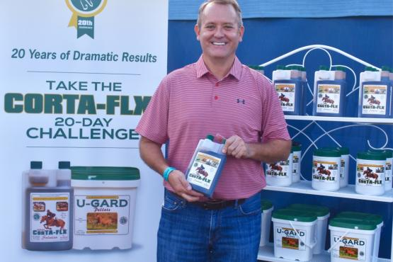 Charlie O'Hara of Corta-Flx® kicked off the company's 20-Day Challenge at The Horse of Course tack shop, located at the Adequan Global Dressage Festival show grounds.