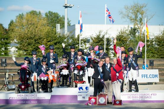 Great Britain (centre) scored team gold at the FEI European Para-Equestrian Dressage Championships 2015 in Deauville (FRA) today and were joined on the medal podium by the Netherlands in silver and Germany in bronze. (Jon Stroud/FEI)