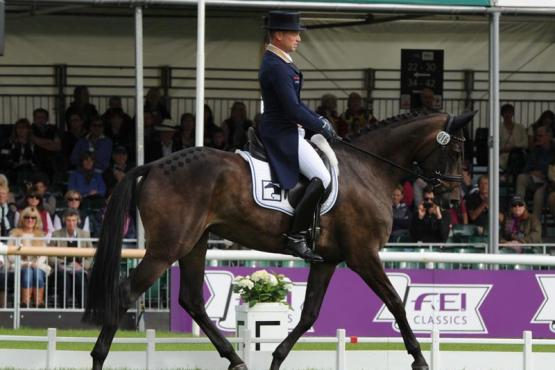 Michael Jung (GER) makes his debut in style at the Land Rover Burghley Horse Trials, sixth and final leg of the FEI Classics™ 2014/201, by taking the lead after the first day of Dressage on FischerRocana FST. (Trevor Meeks/FEI)