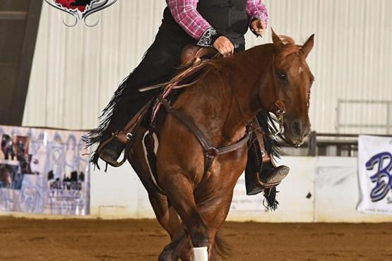 Grade 3 rider Mindy Davis shows style on Outlaw Whiz. (Photo: Jeff Kirkbride Photography)
