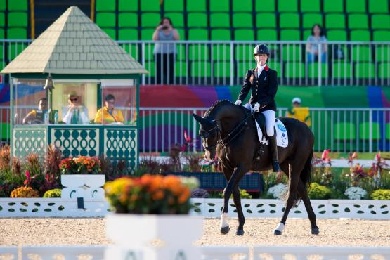 Great Britain's Sophie Christiansen and Athene Lindebjerg win the grade 1a team test to put Team GBR into the lead at this stage (Jon Stround/FEI)