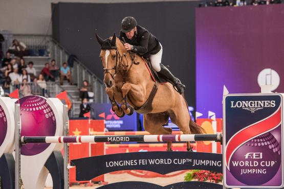 Rio 2016 Olympic team champions, Roger Yves Bost and the mare Sydney Une Prince, win the sixth leg of the Longines FEI World Cup™ Jumping 2017/2018 Western European League in Madrid (ESP