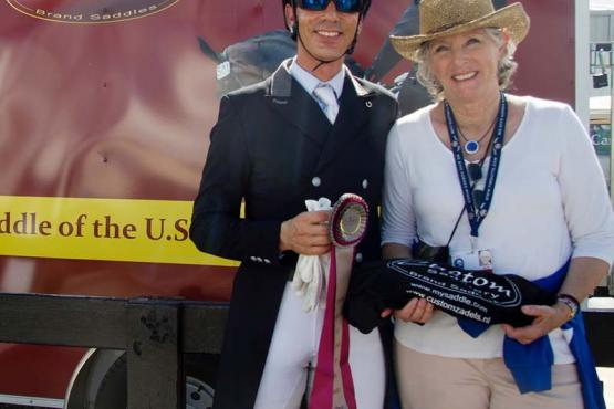 Sahar Daniel Hirosh, pictured with Whitman's owner Jane Suwalsky. Is presented with the Custom Saddlery Most Valuable Rider Award.