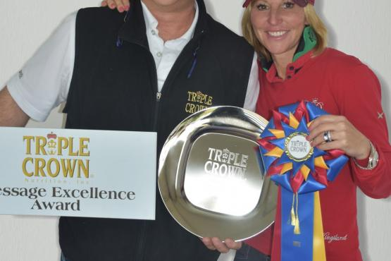 Acclaimed dressage rider Susan Dutta was awarded the Triple Crown Dressage Excellence Award by Triple Crown Florida Representative Craig Bernstein