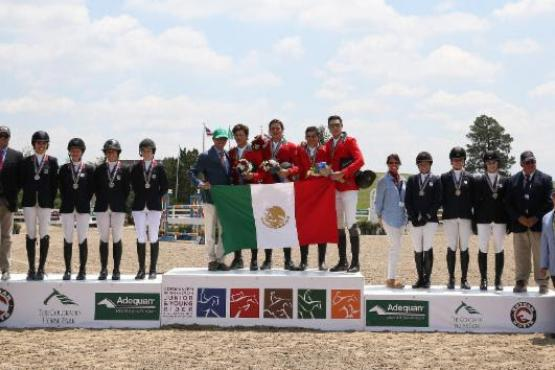 The Mexico North Junior Team accepts the gold medal in the USHJA North American Junior & Young Rider Championships Junior Team competition with the Zone 10 Team and Zone 2/9 Team, alongside Katie Patrick, Director of Sport for the USHJA; Bill Moroney, Chief Executive Officer of USEF; Phillip Rozon, President of the FEI Ground Jury; Michael Stone, President of The Colorado Horse Park; and  Allyn Mann of Adequan®.