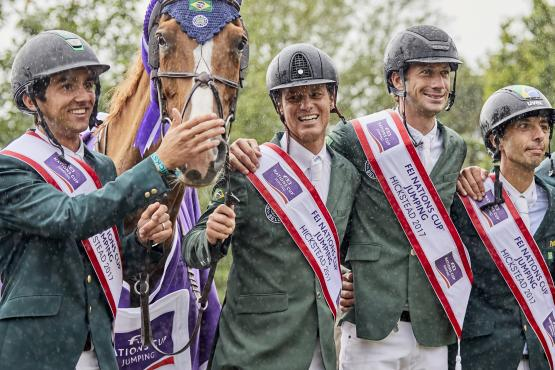 Team Brazil winners of the FEI Nations Cup™ Hickstead GBR