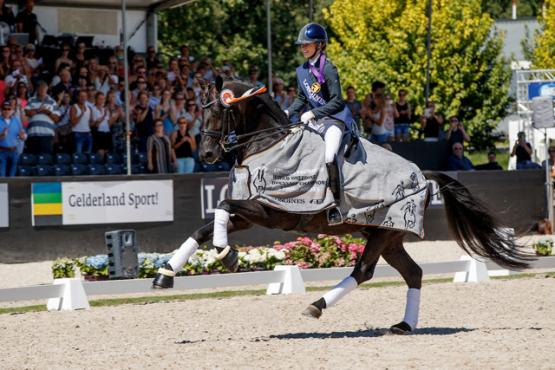 The fabulous black stallion, Glamourdale, won the Seven-Year-Old Final for Great Britain's Charlotte Fry at the Longines FEI/WBFSH World Breeding Dressage Championships 2018 in Ermelo (NED). (FEI/Dirk Caremans)