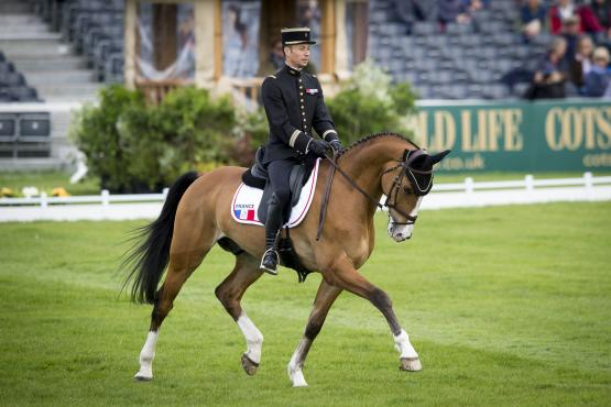 Thibaut Vallette (FRA) and Qing Du Briot ENE HN produce a brilliant 38.7 to lead after the first day of dressage at Badminton, fourth leg of the FEI Classics™.