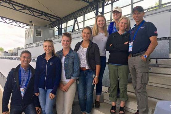 Rachel Chowanec, Emily Gill, Rebekah Mingari,Lillian Simons, Charlotte Bredahl and Jen Verharen with Robert Dover and Steffen Peters