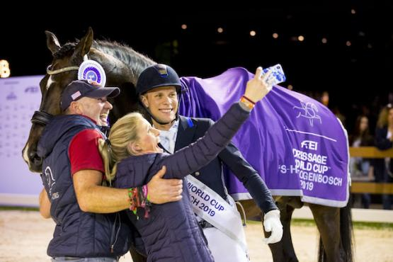 Celebrating with a selfie! Denmark's Daniel Bachmann Andersen pictured with his wife Tiril Bachmann Anerud and Robbie Sanderson after winning today's tenth and last leg of the FEI Dressage World Cup™ 2018/2019 Western European League at 's-Hertogenbosch (NED) with Blue Hors Zack. (FEI/Leanjo de Koster)