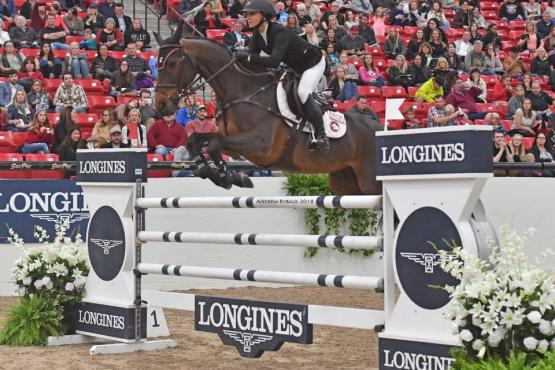 Georgina Bloomberg and Chameur 137 at the $135,000 Longines FEI Jumping World Cup™ Las Vegas.  Photo by Andrew Ryback Photography