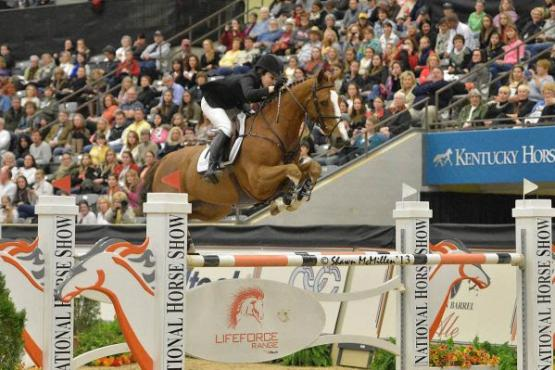 Katie Dinan and Nougat du Vallet took home the top prize in last year's $250,000 National Horse Grand Prix on Saturday night. Photo by Shawn McMillen