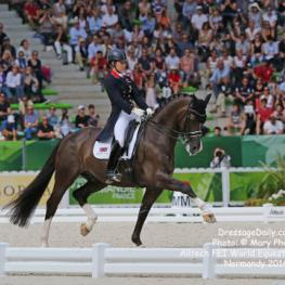 Great Britains Charlotte Dujardin and Valegro (KWPN / Bay / 2002 / G / by Negro and Maifleur by Gerschwin) - Rowena Luard & Carl Hest - 1st Place in the Grand Prix Dressage Freestyle at the Alltech/FEI World Equestrian Games Normandy 2014
