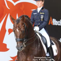 Helen Langehanenberg and Damon Hill NRW (WESTF / Dark Chestnut / 2000 / S / by Donnerhall and Romanze by Rubinstein I) - Christian Becks - 2nd Place in the Grand Prix Dressage Freestyle at the Alltech/FEI World Equestrian Games Normandy 2014