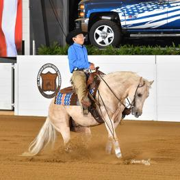 First rider for USA Reining Para Reining Grade 6 division, Tate Wynn on Coded 86. (Photo: Shane Rux)