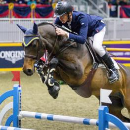 Daniel Coyle of Ireland raced to victory riding Farrel in the $37,000 Brickenden Trophy on Thursday afternoon, November 7, at the Royal Horse Show. (Photo: Jump Media)