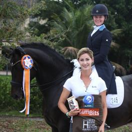 Rachael Hicks (top right) on Don Cartier wins the GumBits Happy Horse Harmony Award, with trainer Caroline Roffman (left), at the Adequan Global Dressage Festival