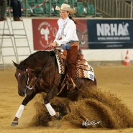 Ann Fonck and Roses For Einstein lead the first section of the Open Futurity go-round opening day of the 2015 National Reining Horse Association European Futurity.