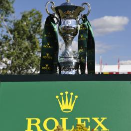 "The Rolex Grand Slam Trophy in the ""International Ring"" of Spruce Meadows. (Photo: Rolex Grand Slam of Show Jumping/Kit Houghton)"