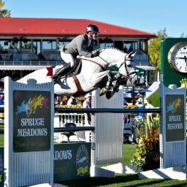 "Philipp Weishaupt and ""LB Convall"" are contenders for the Rolex Grand Slam of Show Jumping, in the ""International Ring"" of Spruce Meadows"