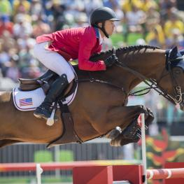 USA's Kent Farrington, the new Longines world number one, en route to team silver with Voyeur at the Rio 2016 Olympic Games.