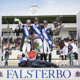 Team Sweden celebrating on the podium after clinching victory in the fifth leg of the FEI Nations Cup™ Dressage 2016