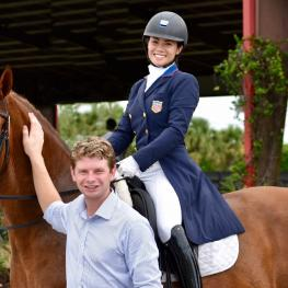 Kevin Kohmann of Diamante Farms trains Natalie Pai and Unlimited to claim the Reserve Championship in the Brentina Cup at the 2017 Dutta Corp. U.S. Dressage Festival of Champions in Gladstone, New Jersey
