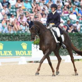 Allison Springer rode Arthur to second place in dressage at the Rolex Kentucky Three-Day Event, presented by Land Rover