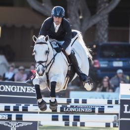 Andy Kocher (USA) with his horse Navalo de Poheton glide to victory recording a first time win in Del Mar today at the Longines FEI World Cup™ Jumping North American League qualifier.
