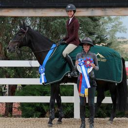 Annabella Sanchez and Zersina are presented the Triple Crown Excellence Award after winning the $5000 Jumper Derby