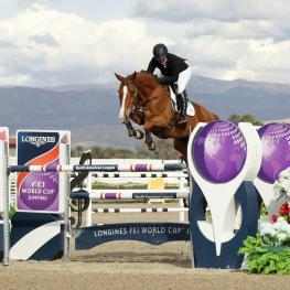 Chela LS ridden by Ashlee Bond (USA) at the Longines FEI World Cup™ Jumping North America league, Thermal.