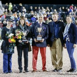 Janine Little and Shawneen Jacobs accepting the Horse of Course High Score Award at the Adequan Global Dressage Festival Awards Ceremony.  (Photo credit: Susan J. Stickle.)  (Please note: There is also another photo that exists of Janine and a representative from the Horse of Course, published earlier this season by your publication. You are welcome to use it, too, but it would be super to get the photo with the owner, Shawneen Jacobs, published for sure.)